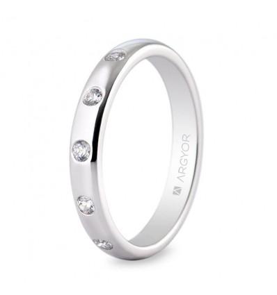 Alianza boda platino y diamantes 0593003