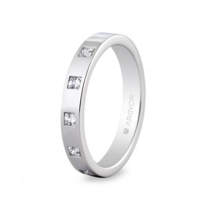 Alianza de platino con diamantes 0593006