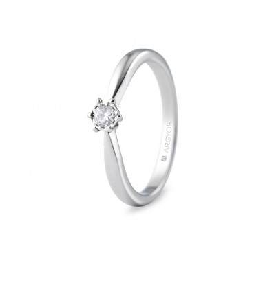 Sortija con 1 diamante 0.14ct