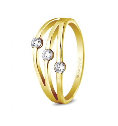 Sortija con 3 diamantes 0.18ct