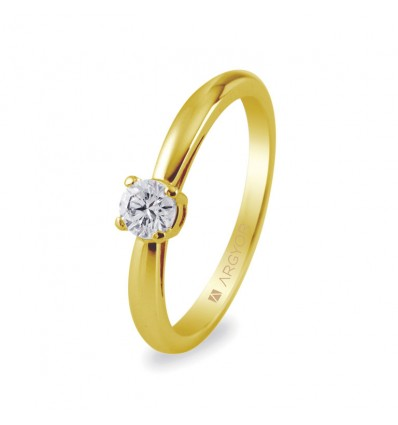 Sortija con 1 diamante 0.16ct