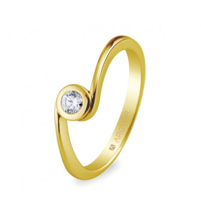 Sortija con 1 diamante 0.10ct