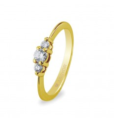 Sortija con 3 diamantes 0.17ct