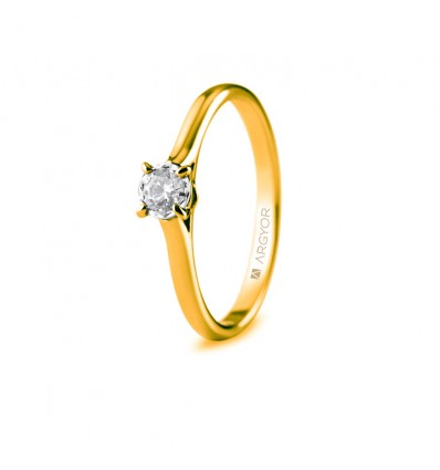 Sortija con 1 diamante 0.20ct
