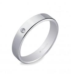 ALIANZA MOD. 554B1002. Alianza 4mm con diamante 0.02ct