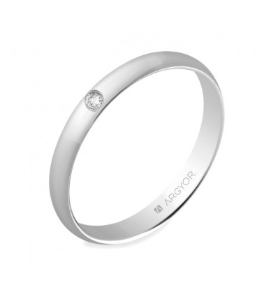 Alianza 3mm con diamante 0.02ct