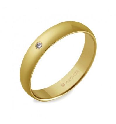 ALIANZA MOD. 55401001. Alianza 4mm con diamante 0.02ct