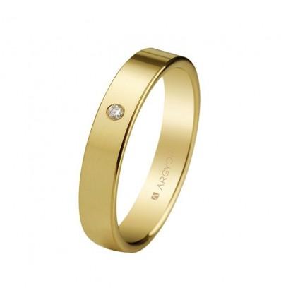 ALIANZA MOD. 55401002. Alianza 4mm con diamante 0.02ct