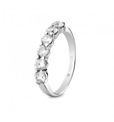 anillo de compromiso con 6 diamantes en oro blanco de 18 quilates