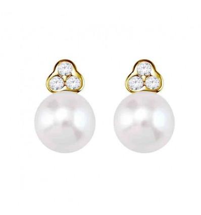 Par pendientes con 6 diamantes y perlas. Par pendientes con 6 diamantes y perlas
