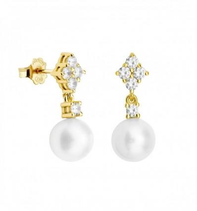 Par pendientes con diamantes y perlas. Par pendientes con diamantes y perlas